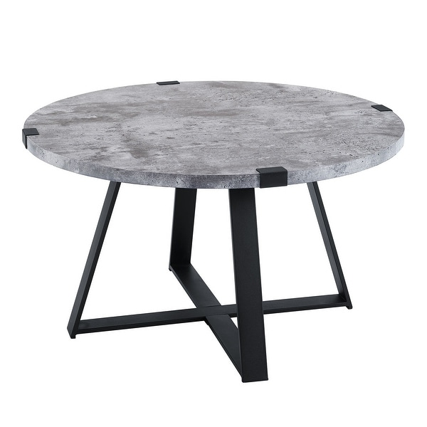 Rustic Coffee Table Black: Shop Offex Rustic Round Metal Wrap Coffee Table