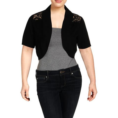 City Chic Womens Plus Shrug Sweater Viscose Lace Inset