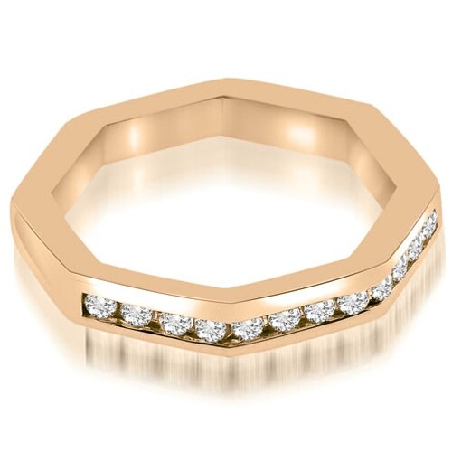 0.24 cttw. 14K Rose Gold Octagonal Channel Set Round Cut Diamond Wedding Band