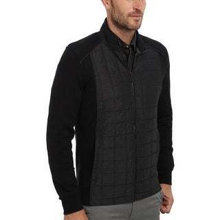 Calvin Klein CK Mixed Media Quilted Fleece Zip Sweatshirt X-Large Black