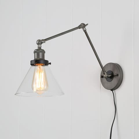 """Merida Plug-in Adjustable Wall Lamp Sconce with Clear Glass by Havenside Home - L21"""" x W7.3 """" x H8"""""""