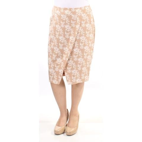 KENSIE Womens Beige Floral Knee Length Tulip Skirt Size: XL