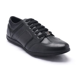 Versace Collections Men's Snakeskin Embossed Leather Low Top Sneaker Shoes Black