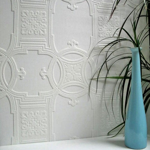 Brewster 437-RD01600 Early Victorian Paintable Textured Vinyl Wallpaper