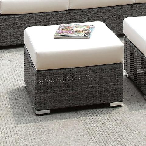 Furniture of America Pyle Contemporary Gray Wicker Small Ottoman