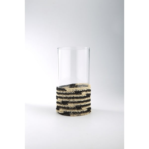 """11.5"""" Clear Cylindrical Glass Vase with Multi Colored Woven Holder - N/A"""