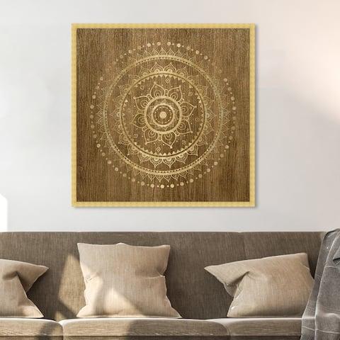 Oliver Gal 'Mandala Foil and Natural Wood' Abstract Framed Wall Art Prints Patterns - Brown, Gold