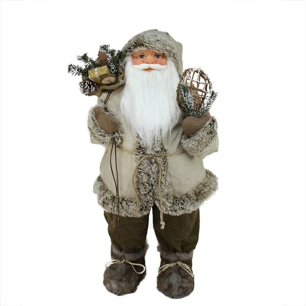 """32"""" Alpine Chic Beige and Brown Burlap and Corduroy Standing Santa with Snowshoes and Gift Bag"""