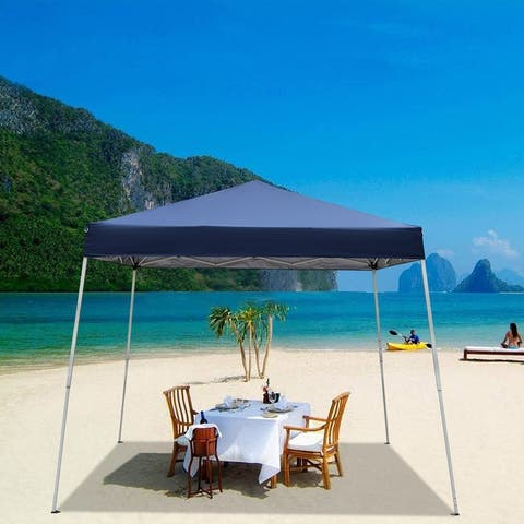 "100"" / 120"" Square Outdoor Gazebo Party Tent White / Blue"