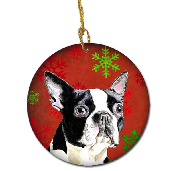 boston terrier red snowflakes holiday christmas ceramic ornament - Boston Terrier Christmas
