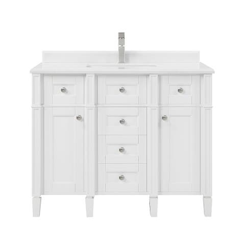 OVE Decors Portland 42 in. Vanity in White with Faucet