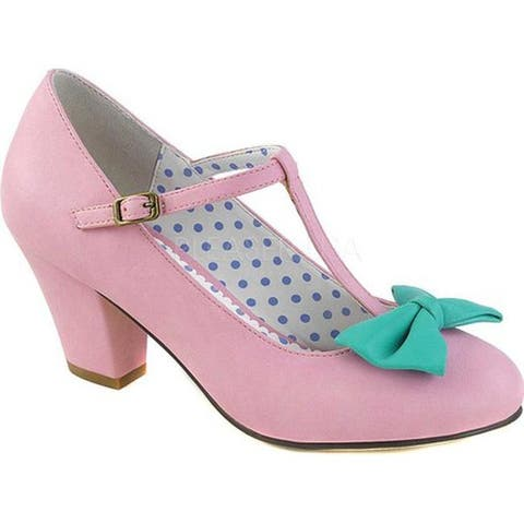 Pin Up Couture Women's Wiggle 50 T-Strap Pink/Teal Faux Leather
