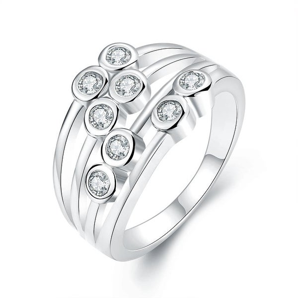 White Gold Eight Crystal Jewels Line Ring