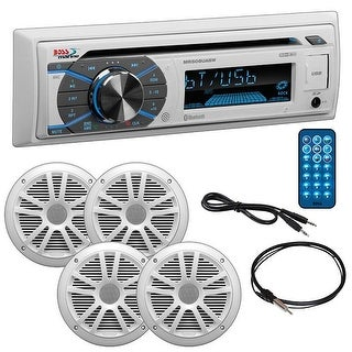 "Boss Marine Single Din CD Receiver with Bluetooth Pair 6.5"" speakers radio cover antenna Aux"
