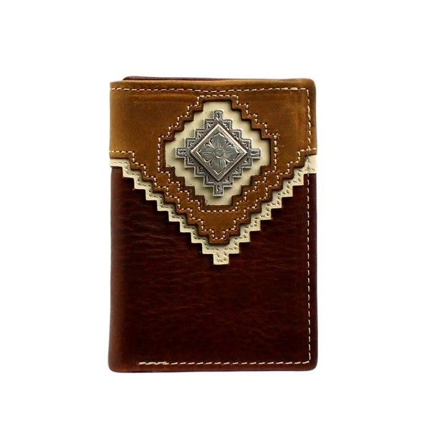 Nocona Western Wallet Mens Leather Concho Tri-fold Brown