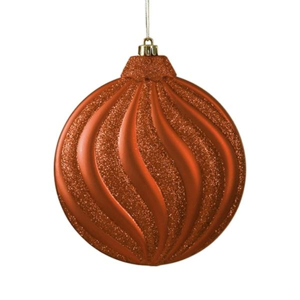 "6ct Matte Burnt Orange Swirl Shatterproof Christmas Disc Ornaments 6.25"""