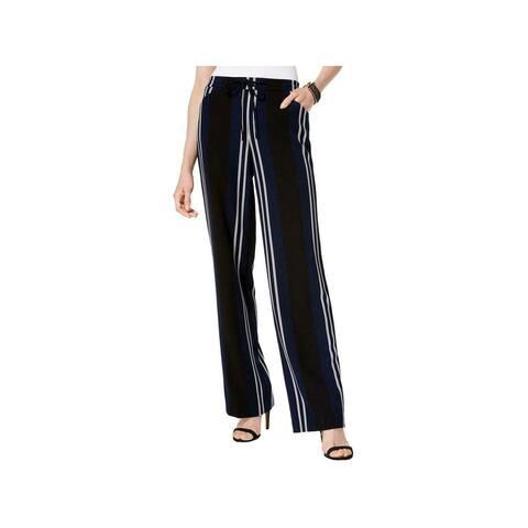 INC Womens Navy Waist-tie Striped Pants Size 12