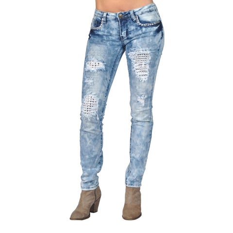 Machine Ripped Inside Layer Rhinestoned Light Acid Skinny Denim Jeans