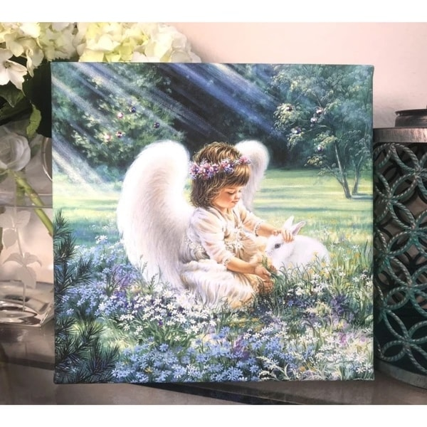 """White and Purple Angel with Swarovski Crystals Square Pizazz Wall Art Decor 10"""" x 10"""" - N/A"""