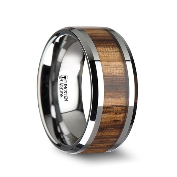 THORSTEN - PALMALETTO Tungsten Carbide Ring with Beveled Edges and Real Zebra Wood Inlay - 10mm