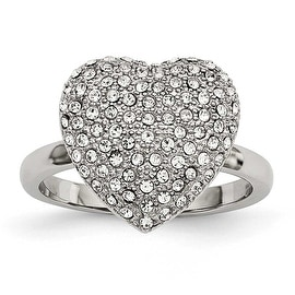 Stainless Steel Polished with Preciosa Crystal Heart Ring
