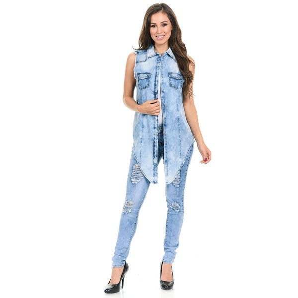 b1814261a2 ... Women's Clothing; /; Tops; /; Tanks & Tees. Sweet Look Women's  Denim Blouse - Denim Shirt - Style Z024 -. Click to Zoom