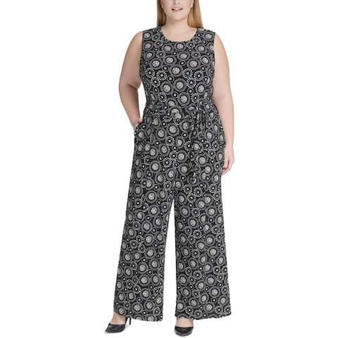 Tommy Hilfiger Womens Plus Starlight Jumpsuit Printed Sleeveless - Black/Ivory