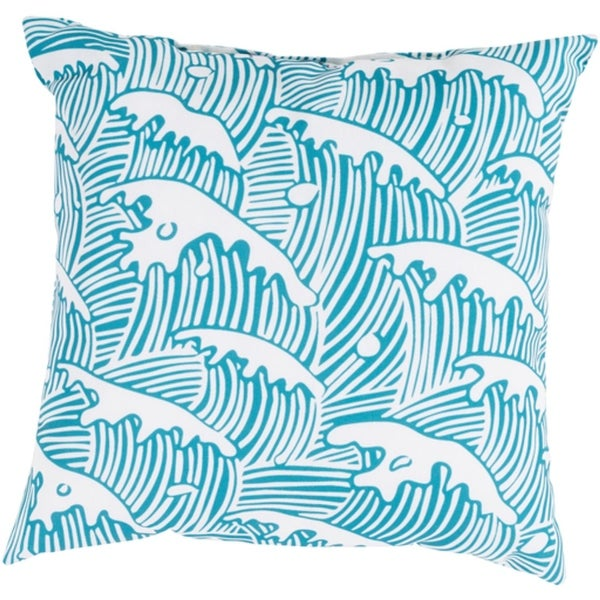 "20"" Ocean Waves Cerulean Blue and Antique White Throw Pillow Shell"