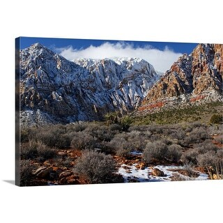 """Snow-capped mountains at Red Rock canyon near Las Vegas, NV."" Canvas Wall Art"