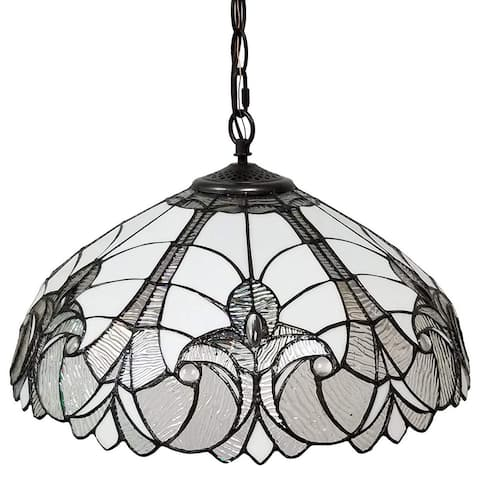 Tiffany Style White 18-inch Floral Hanging Lamp AM206HL18B Amora Lighting