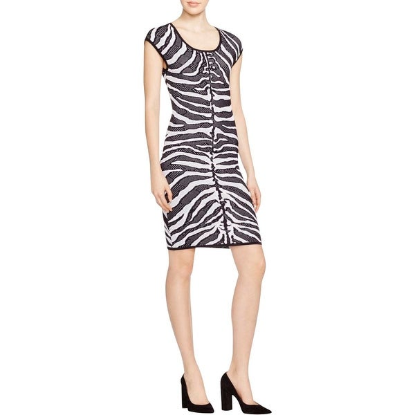 MICHAEL Michael Kors Womens Sweaterdress Perforated Zebra Print