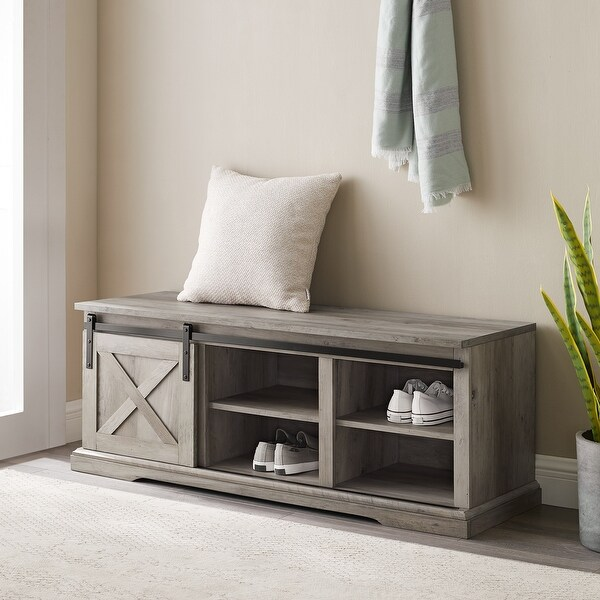 The Gray Barn 48-inch Sliding Barn Door Bench. Opens flyout.