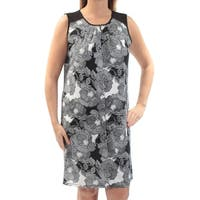 TOMMY HILFIGER Womens Black Floral Sleeveless Scoop Neck Above The Knee Shift Dress  Size: 6