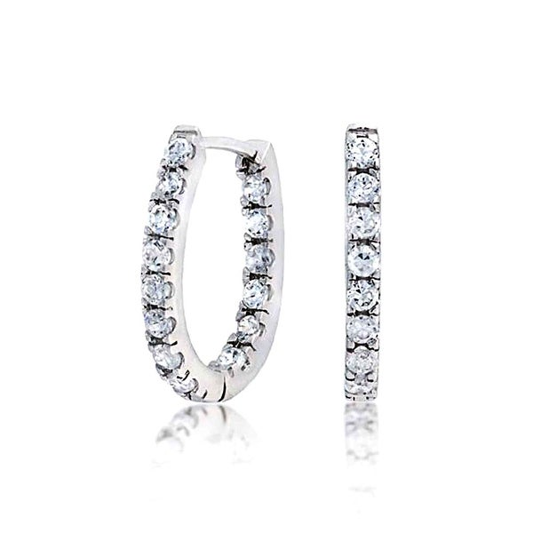 Bling Jewelry Sterling Silver Pave Cz Thin Inside Out Small Hoop Earrings