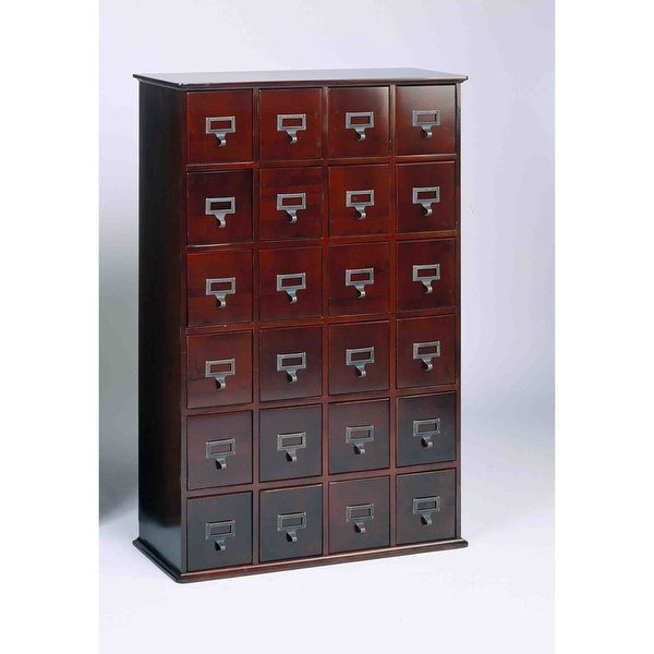 Library Catalog Media Storage Cabinet - 24 Drawer - Stores 288 CDs or DVDs - Cherry  sc 1 st  Overstock.com & Shop Library Catalog Media Storage Cabinet - 24 Drawer - Stores 288 ...