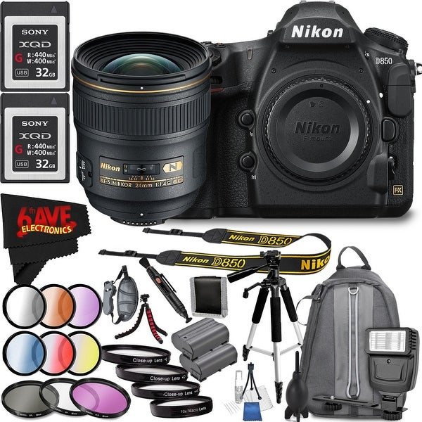 Nikon D850 DSLR Camera (Body Only) 1585 International Model + Nikon AF-S NIKKOR 24mm f/1.4G ED Lens Bundle