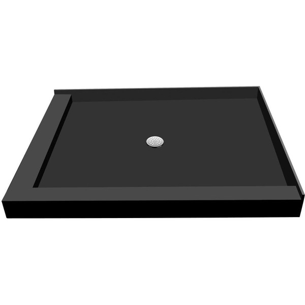 """Tile Redi P3248CDL-PVC Redi Base 48"""" X 32"""" Corner Shower Pan with Double Threshold and 2"""" Center Drain - Polished Chrome"""