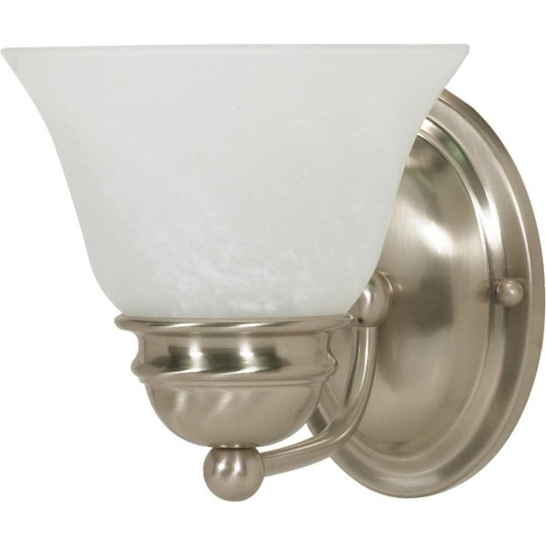 """Nuvo Lighting 60/340 Empire Single Light 6.3"""" Wide Bathroom Sconce with Alabaster Glass Shade - Brushed nickel"""