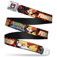 Pok Ball Full Color Pokmon & Y Fennekin Poses Flames Black Reds Webbing Seatbelt Belt