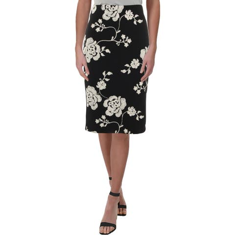 ECI New York Womens Scuba Skirt Floral Print Below Knee - 4