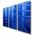 Statements2000 Blue Modern Metal Wall Art Panels Painting by Jon Allen - Blue Synchronicity 3P - Thumbnail 7
