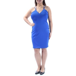 Womens Blue Spaghetti Strap Above The Knee Sheath Cocktail Dress Size: XL