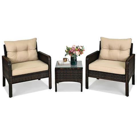 3 PCS Patio Furniture Set PE Rattan Wicker Outdoor Sofa Set