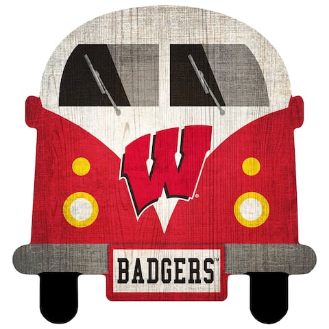"Wisconsin Badgers Team Bus 12"" Wooden Sign"