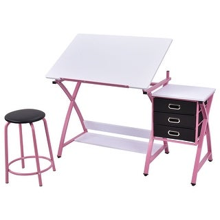 Costway Drafting Table Art & Craft Drawing Desk Art Hobby Folding Adjustable w/ Stool
