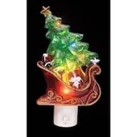 "7.5"" Sleigh with Christmas Tree and Presents Decorative Christmas LED Night Light"