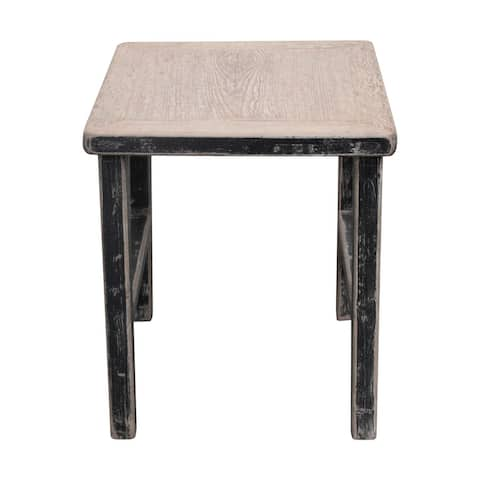 Reclaimed Wood Song Square Side Table, 24 Inch Tall, Weathered natural wood tabletop, Black Finish