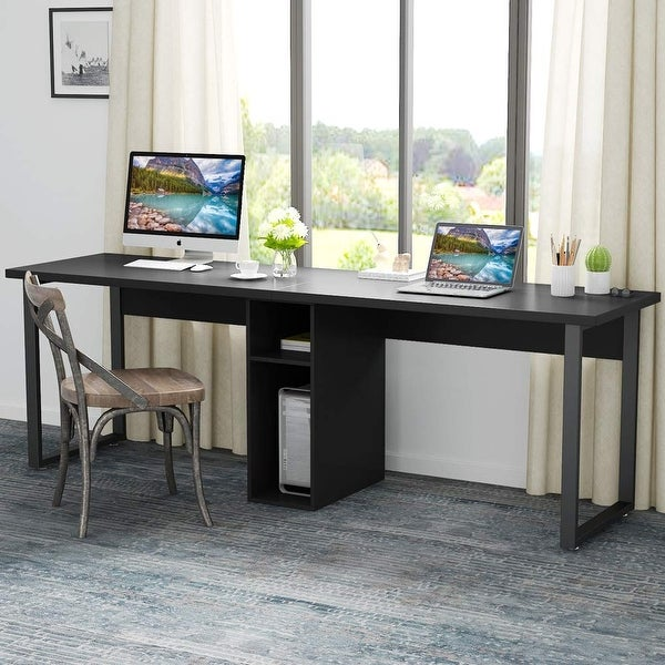 Modern 78/'/'Extra Large Double Workstation Computer Desk with Cabinet and Storage