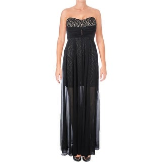 Teeze Me Womens Juniors Formal Dress Lace Overlay Strapless - 1