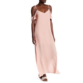 NSR NEW Blush Pink Womens Size Small S Ruffle Cold-Shoulder Maxi Dress
